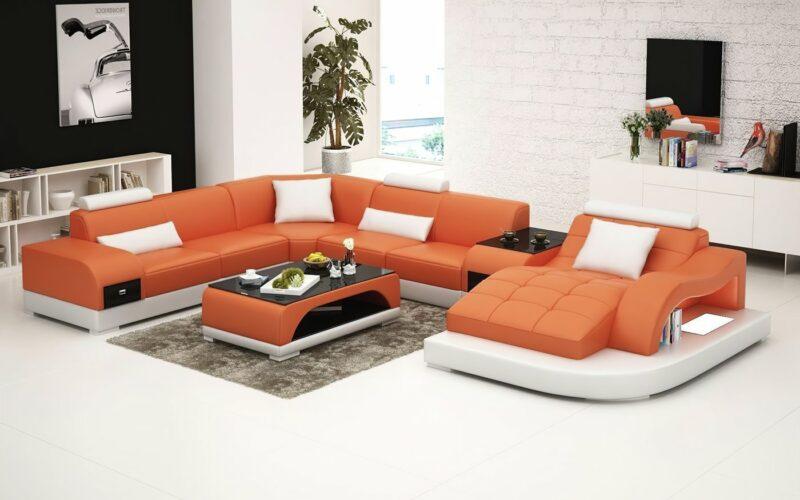 Annika U-soffa XL - Orange med vita detaljer - M&M Collection
