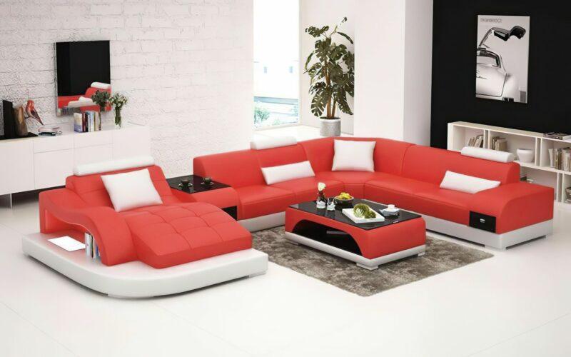 Annika U-soffa XL - Röd med vita detaljer - M&M Collection