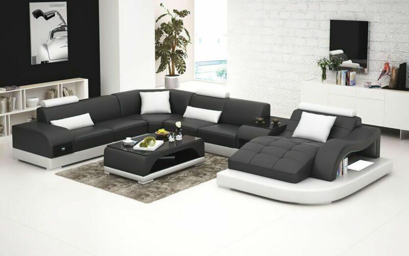 Annika U-soffa XL - Svart med vita detaljer - M&M Collection