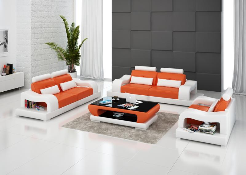 Hanna soffgrupp 3+2+1 i äkta skinn - Orange med vita detaljer