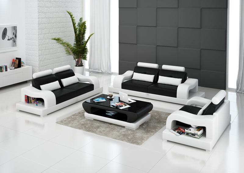 Hanna soffgrupp 3+2+1 i äkta skinn - Svart med vita detaljer - M&M Collection