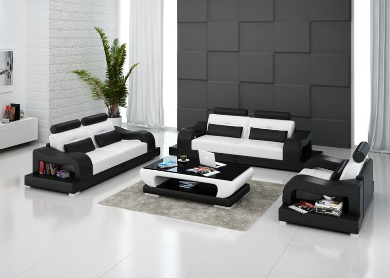 Hanna soffgrupp 3+2+1 i äkta skinn - Vit med svarta detaljer - M&M Collection
