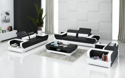 Märtha design soffgrupp i äkta skinn - Svart med vita detaljer - Folkets Möbler