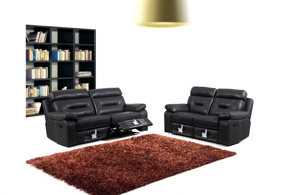 Oakland biosoffa med recliner i äkta skinn - 3+2