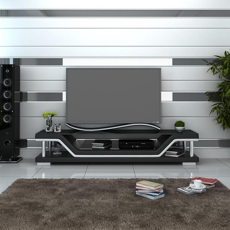 Pernilla TV-bänk svart med vita detaljer - Folkets Möbler