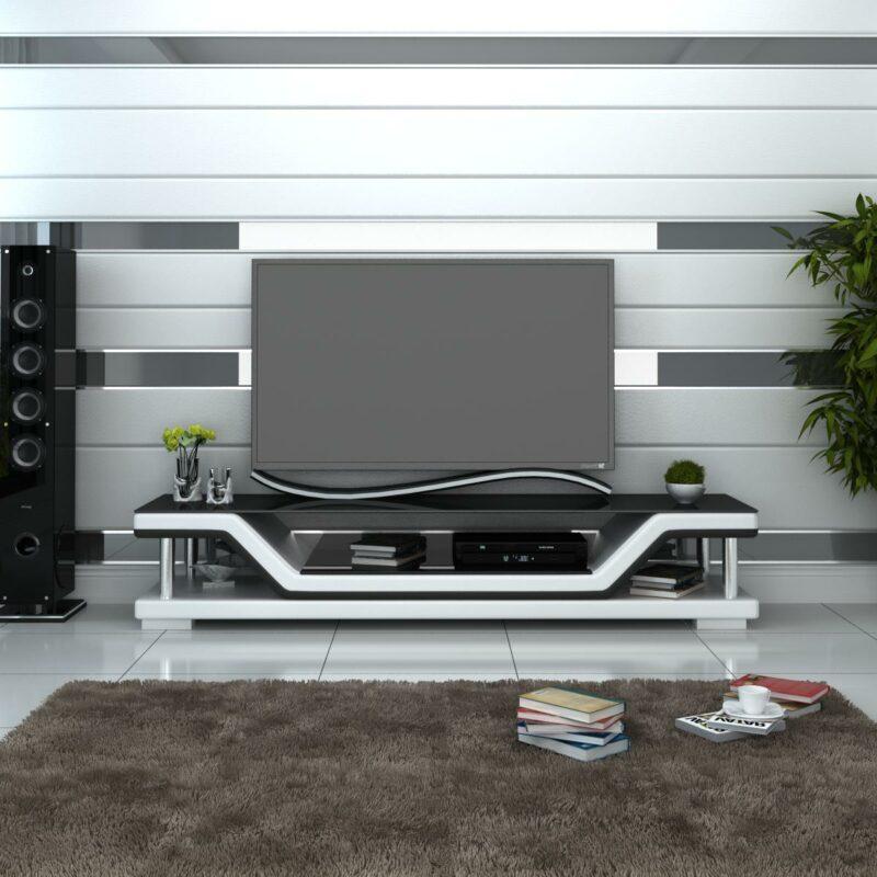 Pernilla TV-bänk vit med svarta detaljer - Folkets Möbler