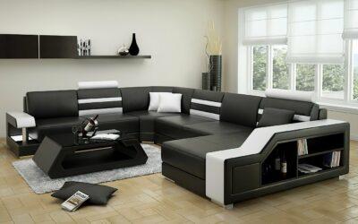 Maria U-soffa - Svart med vita detaljer