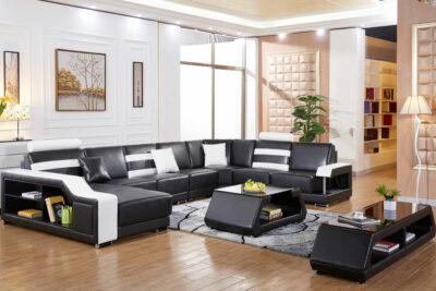 Maria U-soffa i äkta skinn - Svart med vita detaljer miljö