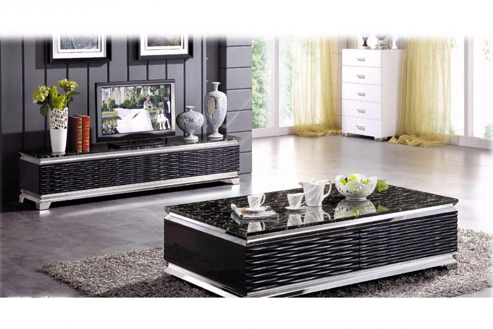 Jenny soffbord mässing med svart glas Folkets Möbler