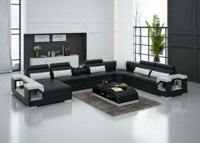 Betty U-soffa design i äkta skinn - Svart med vita detaljer