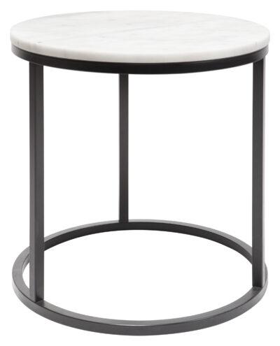 Accent sidobord - runt 50 cm - Svart underrede med ljus marmor