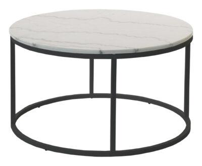 Accent soffbord - Runt 85 cm - Svart underrede med ljus marmor