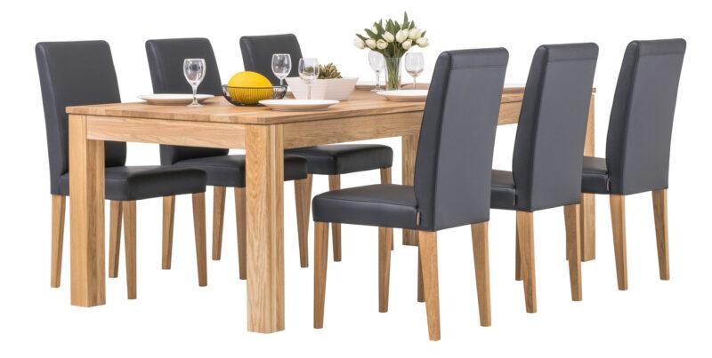 Aurora matbord med 6 Contrast matstolar dekorerat - Pohjanmaan