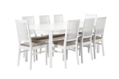 Olivia matbord + 8 Anton stolar - Ovalt utdragen