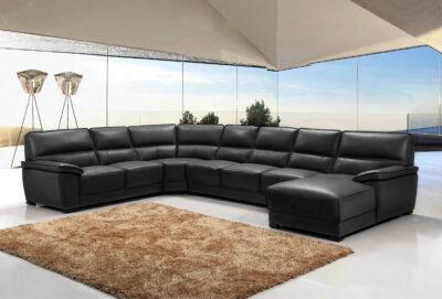 Schopenhauer U-soffa, 2H4D - Svart skinn - M&M Collection