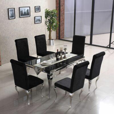Selma matbord - Svart glas, härdat med silverben - Folkets Möbler