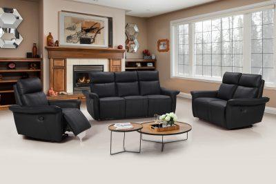 Buffalo bio soffa 3+2+1 svart recliner