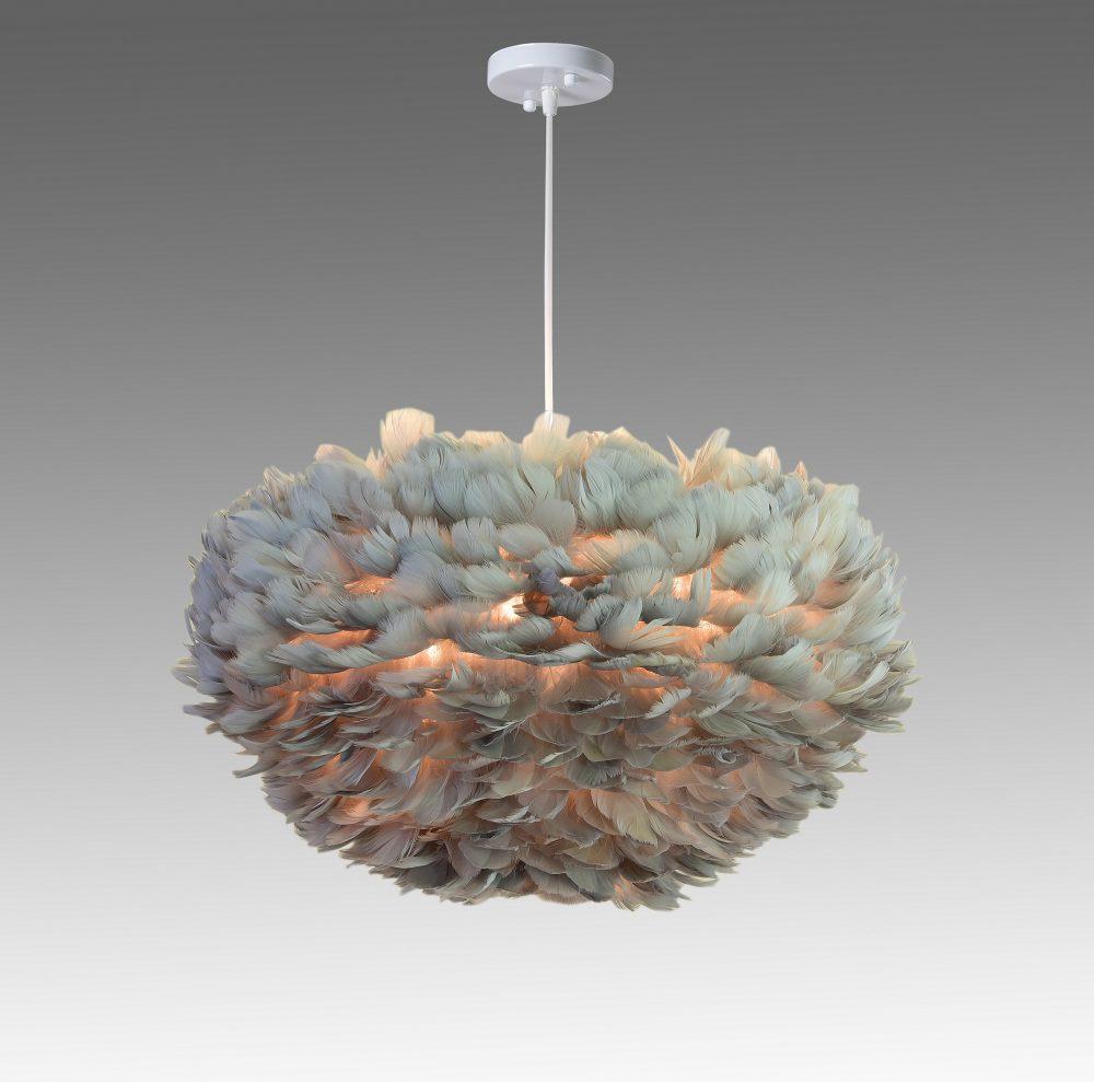 feather - fjäderlampa - grå