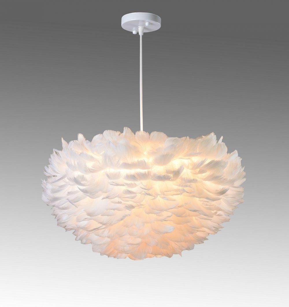 feather - fjäderlampa - vit