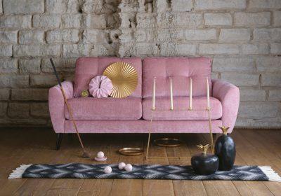 Marta soffa i rosa sammet - Ermatiko