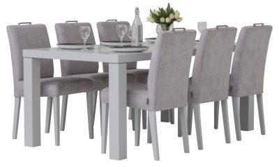 Line matbord + Ada stolar, grått tyg - Pohjanmaan