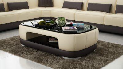 Danne soffbord - Beige med bruna detaljer