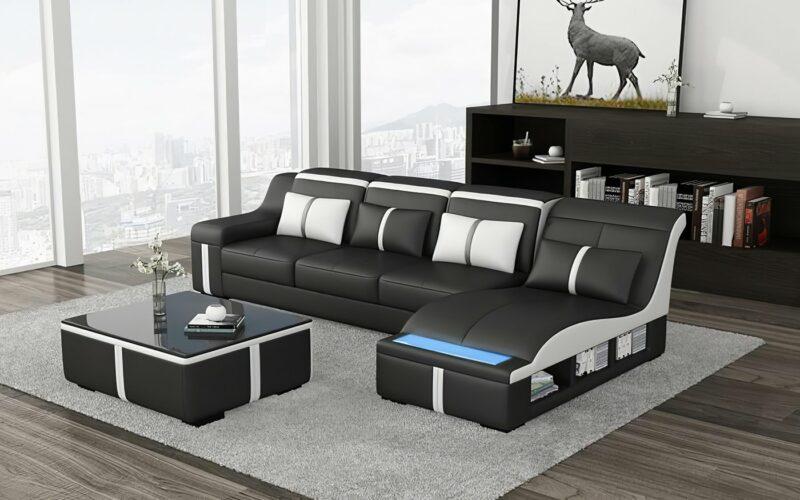Milano C divansoffa - Svart med vita detaljer - Folkets Möbler