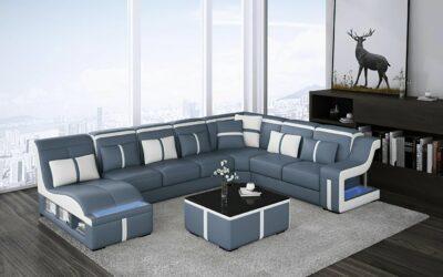 Milano U-soffa - Blå med vita detaljer