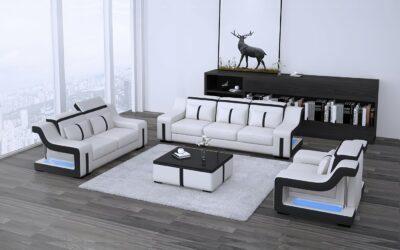 Milano soffgrupp 3+2+1 - Vit med svarta detaljer - M&M Collection