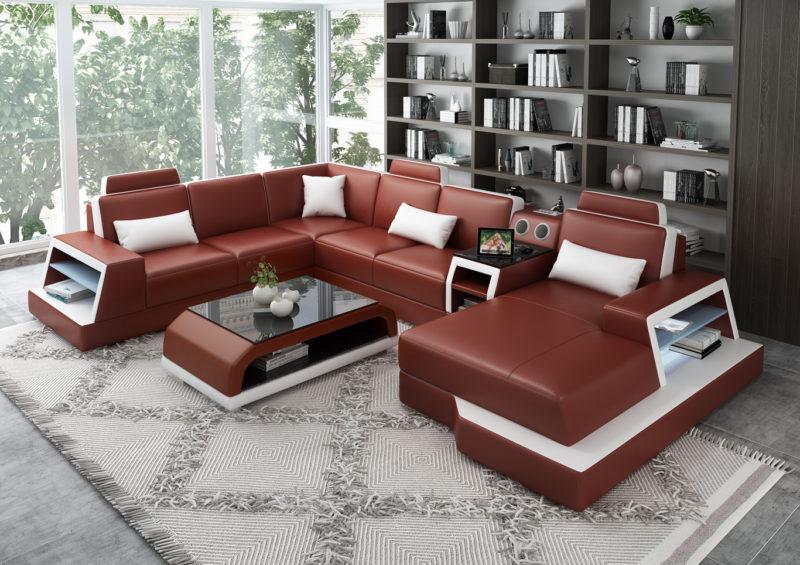 Messina U-soffa - Röd med vita detaljer