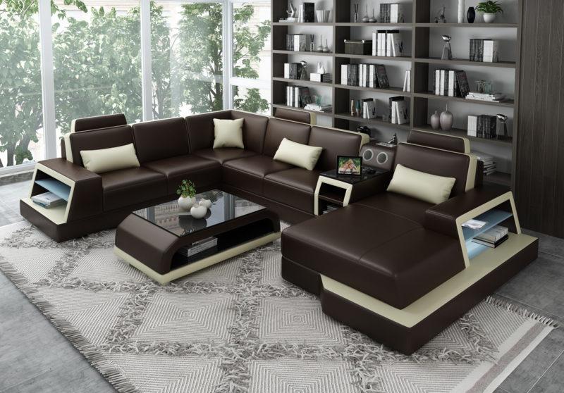 Messina läder soffa - Brun med beige detaljer