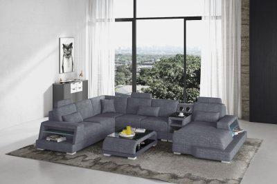 Messina modern U soffa med LED belysning och högtalare i tyg