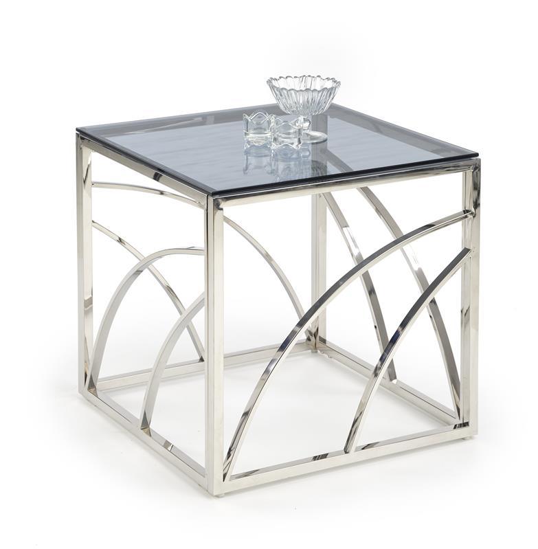Dublin lamp-/sidobord i rökfärgat glas och krom metall