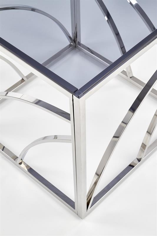 Dublin soffbord rökfärgat glas krom detaljer