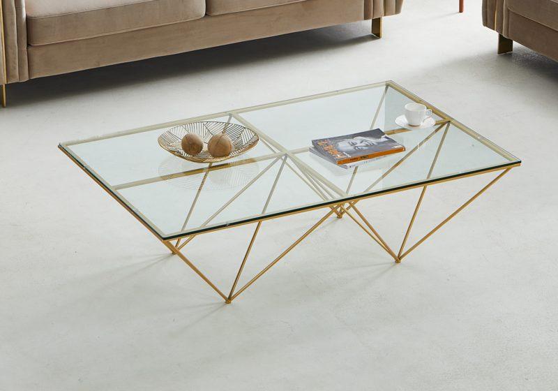 Kingston bord, glas / guld