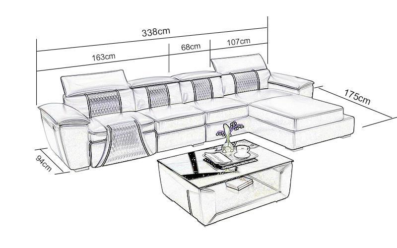 Los Angeles C divan med recliner