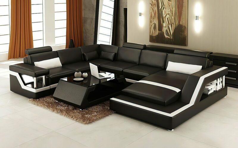 Copenhagen U-soffa - Svart med vita detaljer - M&M Collection