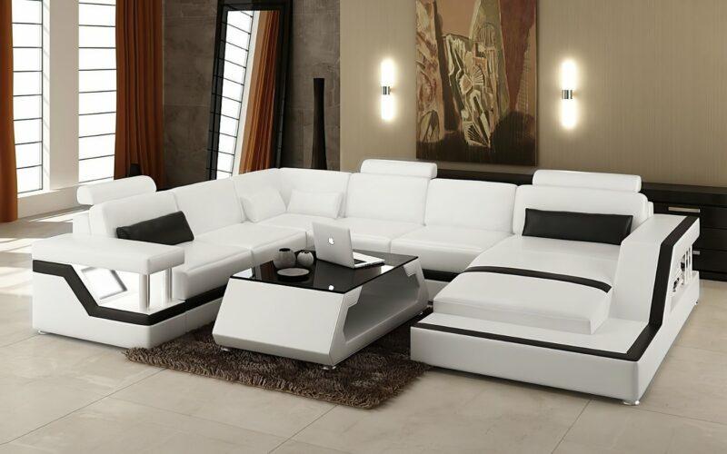 Copenhagen U-soffa - Vit med svarta detaljer - M&M Collection