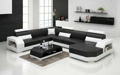 Country U-soffa - Svart med vita detaljer - Äkta läder - M&M Collection