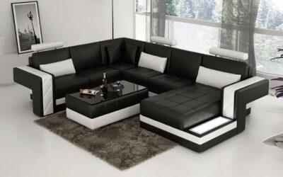 Madison U-soffa - Svart med vita detaljer - Design skinnsoffa & lädersoffa