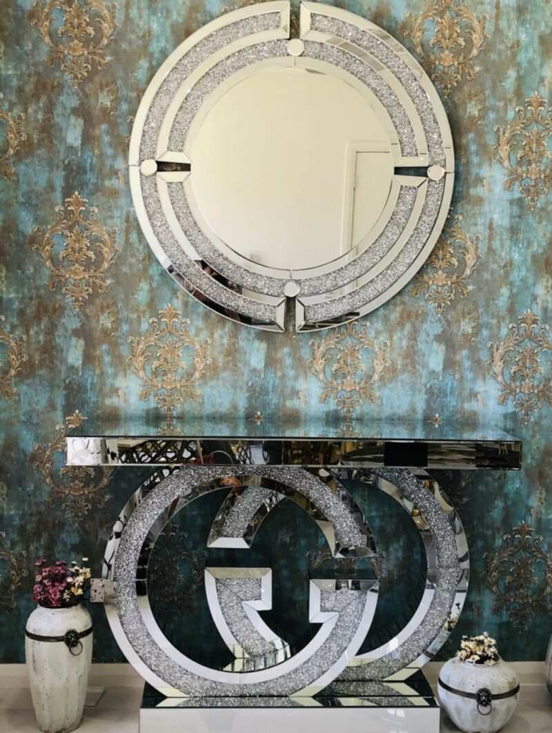 Johanna rund väggspegel med Gucci konsolbord