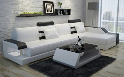 Maria divansoffa - Vit med svarta detaljer - Design soffa divan