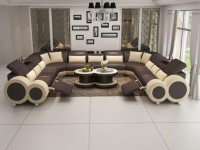 Lucy U-soffa XXL - Äkta skinn med recliner - Brun med beige detaljer