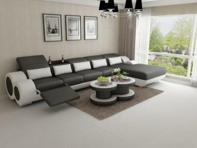 Lucy divansoffa med recliner - Divan i äkta skinn - Svart med vita detaljer