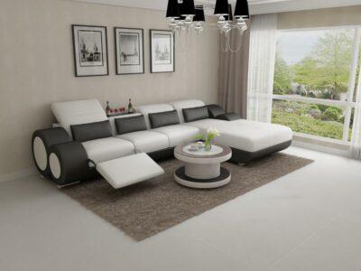 Lucy divansoffa med recliner i äkta skinn - Vit med svarta detaljer