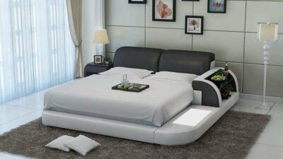 Märtha säng - Svart med vit stomme