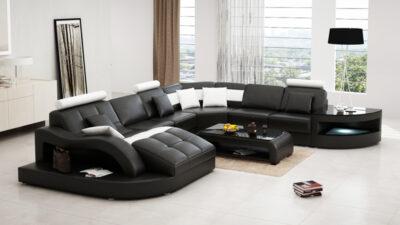 Matilda U designsoffa - U-soffa - Svart med vita detaljer