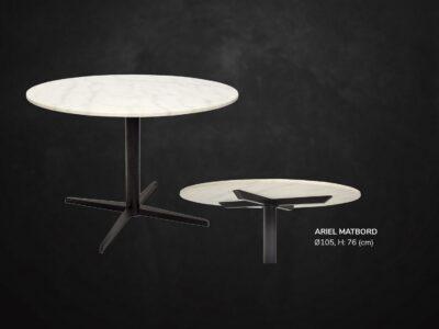 Ariel runt matbord, ljus marmor med svart underrede