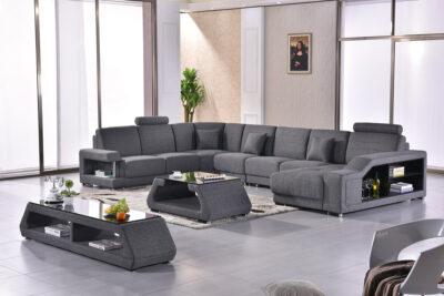 Maria U-soffa i tyg - Grå tyg - M&M Collection