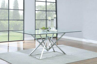 Style matbord - Glasskiva med rostfritt stål underrede - Folkets Möbler